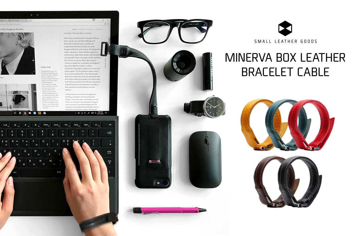 SLG Design Minerva Box Leather Bracelet Cable