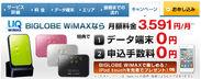 「BIGLOBE WiMAX」申し込み特典ページ