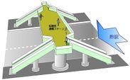 図(1)津波・洪水避難ステージ付歩道橋 全体拡張タイプ