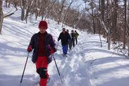 雪の野山を散策