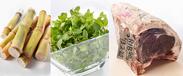 食材のイメージ画像(左からサトウキビ、ミント、熟成肉)