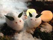 雪うさぎと雪灯籠