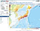 地理院地図上に表示されたJ-SHIS地図(確率論的地震動予測地図2013年モデル1)