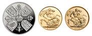 5ポンド銀貨・2ポンド金貨・1ソブリン金貨