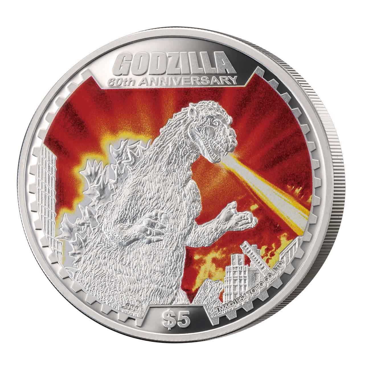 怪獣映画の金字塔「ゴジラ」生誕60周年を記念したビッグサイズ銀貨/フィギュア付き銀貨の2つの公式記念貨幣を提供開始!