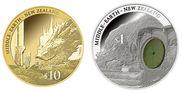 10ドル金貨と1ドル銀貨木片付