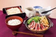 鴨と九条ねぎの彩り陶板鍋膳