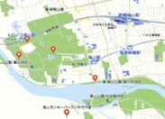 観光地を示すピンが目立つおもてなしマップ