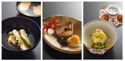 左:明石産真鯛のお椀、中:明石産鰆の塩焼き、右:亀甲かぶらの吹き寄せ