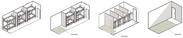 客室タイプ(左からドミトリー(6名部屋)、ファミリー(4~5名部屋)、ドミトリー(10名部屋)、和室タイプ)