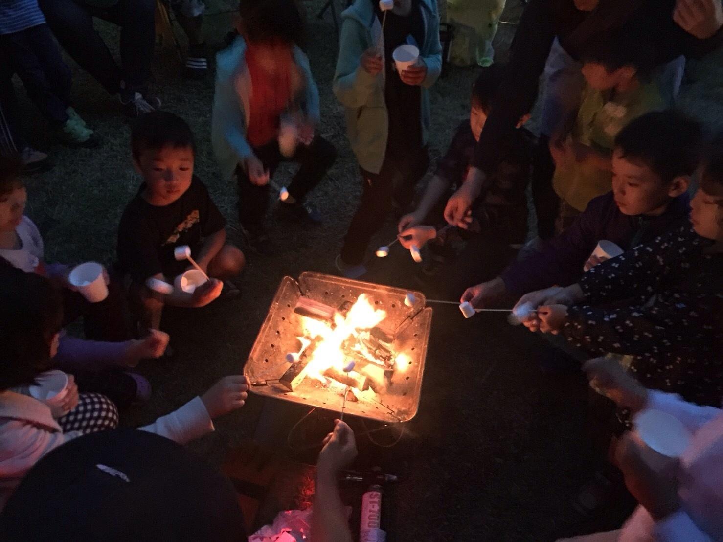 夜は火を囲んで焼きマシュマロ体験が楽しめる