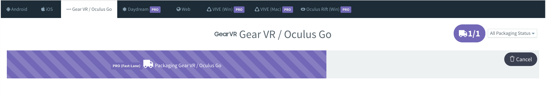 図1) InstaVRから「Oculus Go」への出力画面。ワンクリックで「Oculus Go」対応VRアプリが作成できる。