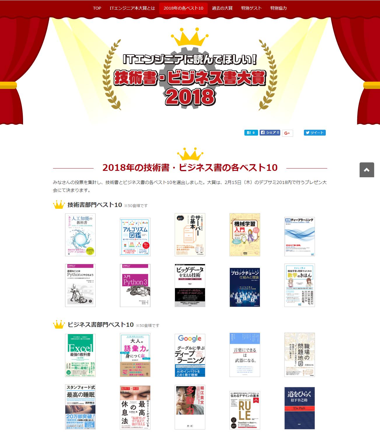 ITエンジニア本大賞 2018 技術書・ビジネス書 ベスト10