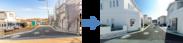 建設予定地写真に建物外観3Dパースを合成