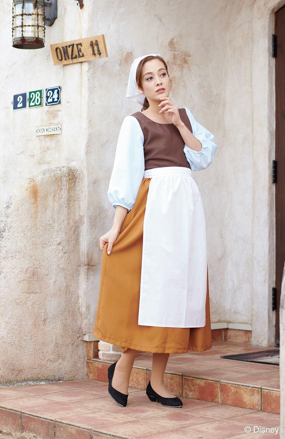 大人用シンデレラ :灰をかぶって家事をしていたころのシンデレラの衣装デザインです。背中のチャックを開きスカート下からすっぽりとかぶり着用します。