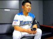 Visionup(ビジョナップ)(R)についてコメントする日本ハム、近藤 健介選手