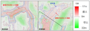 図2.切土・盛土分布図と建物被災状況の関係