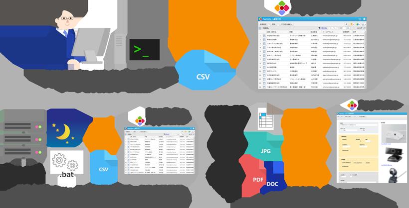 コマンドラインツールによるCSVデータの一括登録イメージ