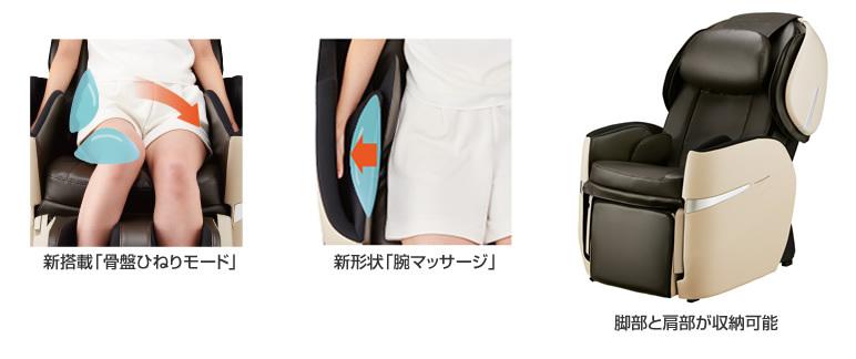 新搭載「骨盤ひねりモード」、新形状「腕マッサージ」、脚部と肩部が収納可能