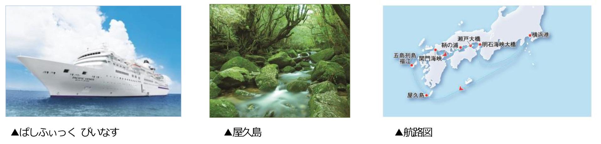 (左)ぱしふぃっく びいなす、(中)屋久島、(右)航路図