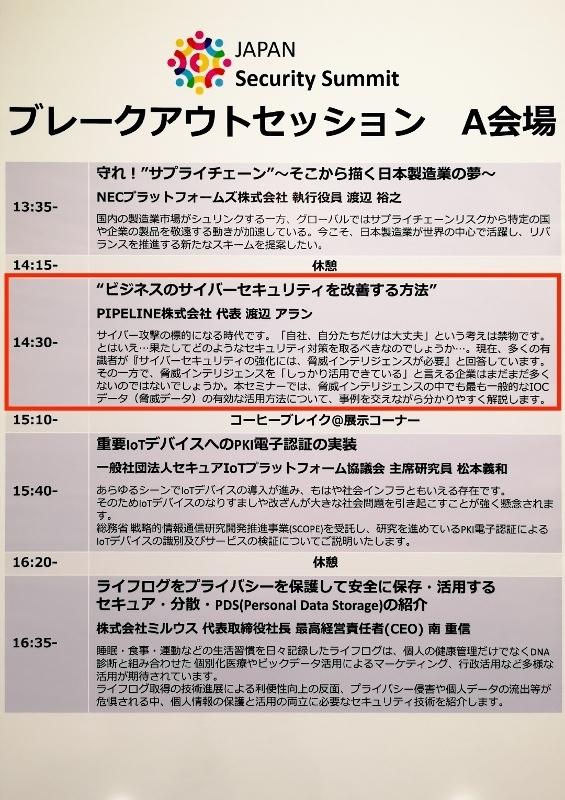 「ジャパンセキュリティサミット2019」セッション
