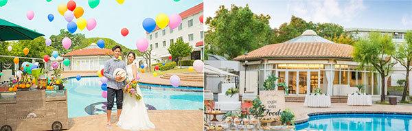 プールサイドを貸切に!リゾート感溢れるホテルウエディングプール貸切リゾート風結婚式「プールサイドウエ... 画像