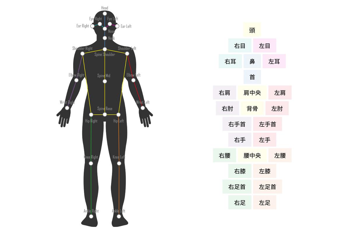 VisionPose Nano『高速化BodyAndColor(β)』で取得できる2D座標(22箇所)