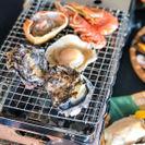 卓上で楽しめる牡蠣と浜焼き。