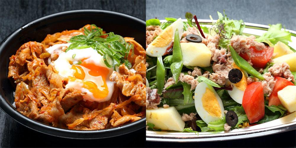 温玉とろ~り豚キムチ丼_アンチョビとニンニク香る ニース風サラダ