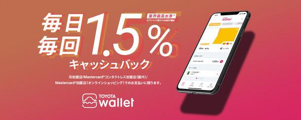 毎日のお買い物をキャッシュレス払いで、より楽しくスムーズに TOYOTA Walletが初のキャッシュバックサービスを開始 最高水準(※)の還元率・支払金額の1.5%を毎月還元!2021年4月13日(火)から