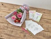 塗り絵ポストカード「感謝と幸福」と花束のセット_A_日比谷花壇