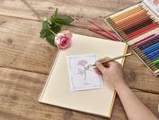 塗り絵ポストカード「感謝と幸福」と花束のセット_塗り絵イメージ_日比谷花壇