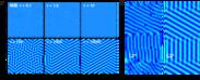 図1 (a) ビスマス単原子膜で時間と共にチューリング・パターンが形成される様子。(b) 実験と理論の比較。