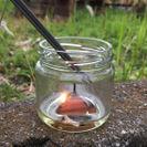 瓶にサラダ油を入れ着火した画像