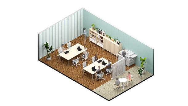 働き方×デザインテイストで選べる18種のオフィス空間をファストフード感覚で手に入れる!