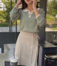 [CHERRYKOKO]ニューオープニングバイカラーニット