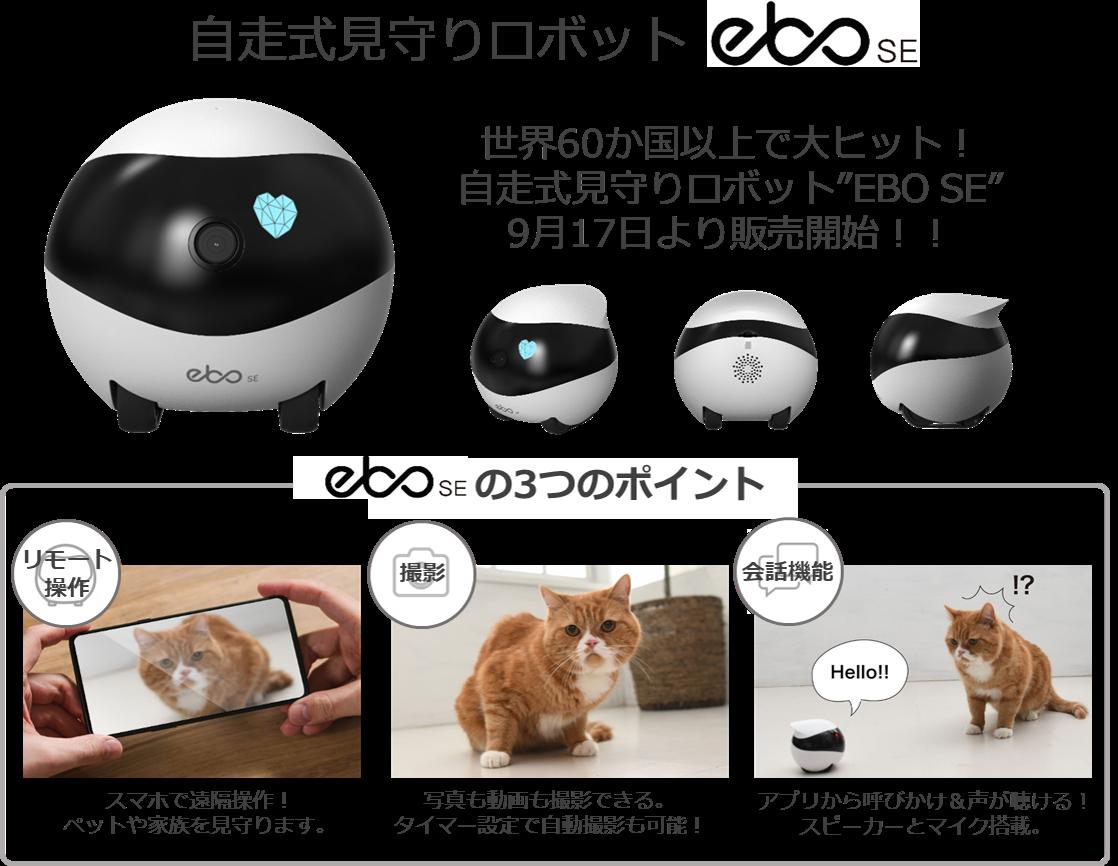 世界60か国以上で大ヒット!自走式見守りロボット「EBO SE」!9月17日販売開始!