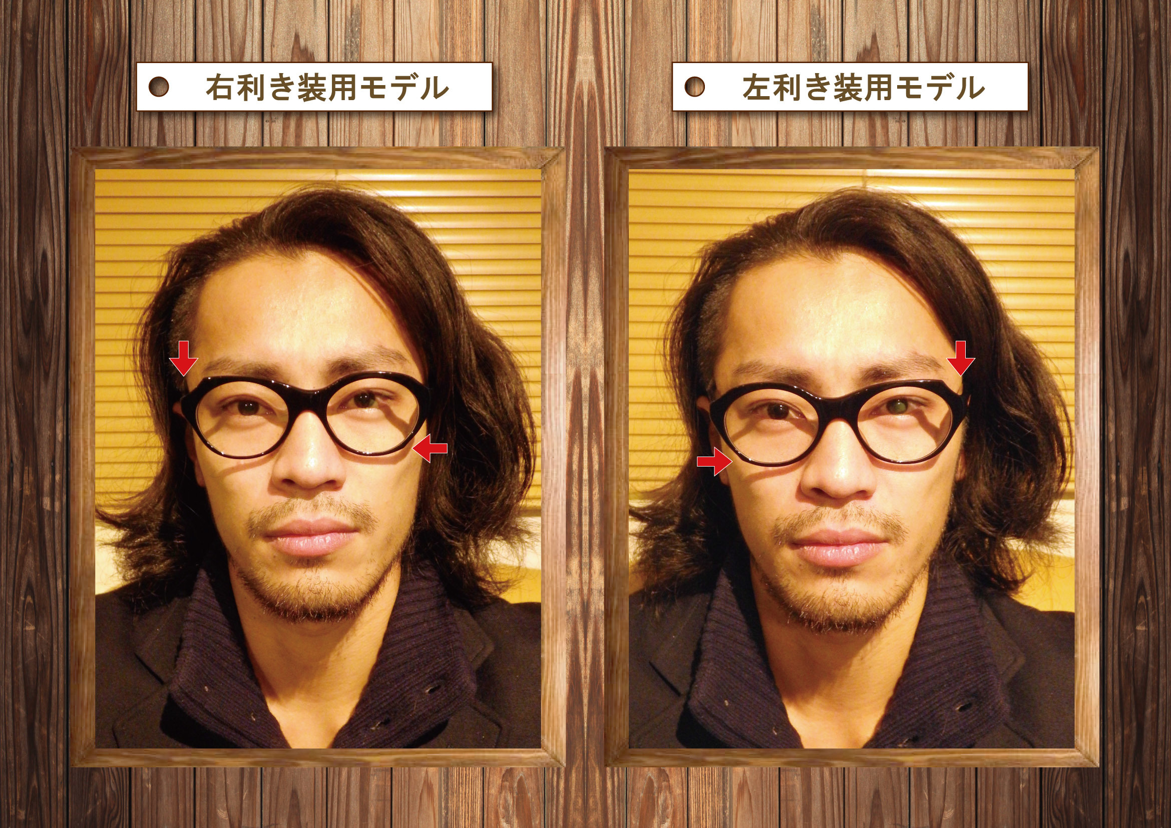 左右非対称メガネ装用