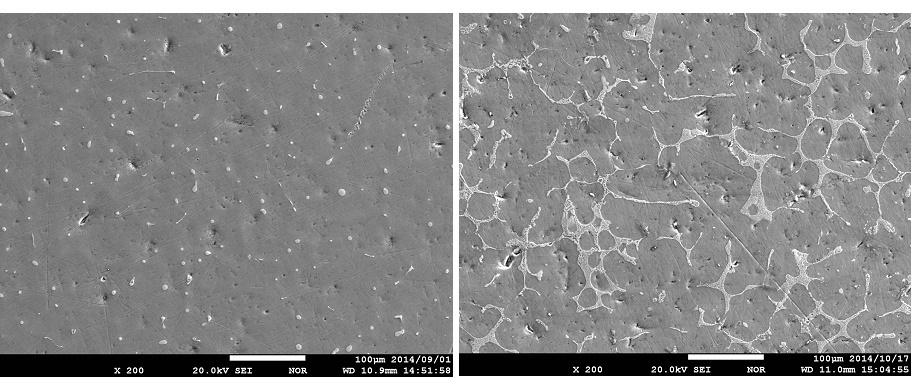 図1 炭素添加の有無による合金組織の比較写真